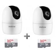 Kit 2 Câmeras IP 360° IM4 Mibo FHD Intelbras + SD 128GB Ultr