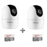 Kit 2 Câmeras IP 360° IM4 Mibo FHD Intelbras + SD 16GB Ultra
