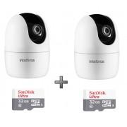 Kit 2 Câmeras IP 360° IM4 Mibo FHD Intelbras + SD 32GB Ultra