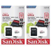 Kit 2 Cartão de Memória Micro SD Class 10 32GB Sandisk Ultra