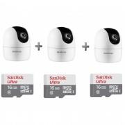 Kit 3 Câmeras IP 360° IM4 Mibo FHD Intelbras + SD 16GB Ultra