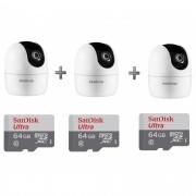 Kit 3 Câmeras IP 360° IM4 Mibo FHD Intelbras + SD 64GB Ultra