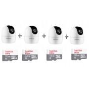 Kit 4 Câmeras IP 360° IM4 Mibo FHD Intelbras + SD 32GB Ultra