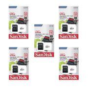 Kit 5 Cartão de Memória Micro SD Class 10 32GB Sandisk Ultra