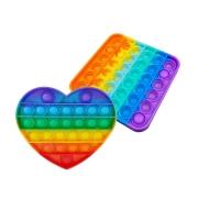 Kit Fidget Pop It Brinquedo Coração + Quadrado Silicone