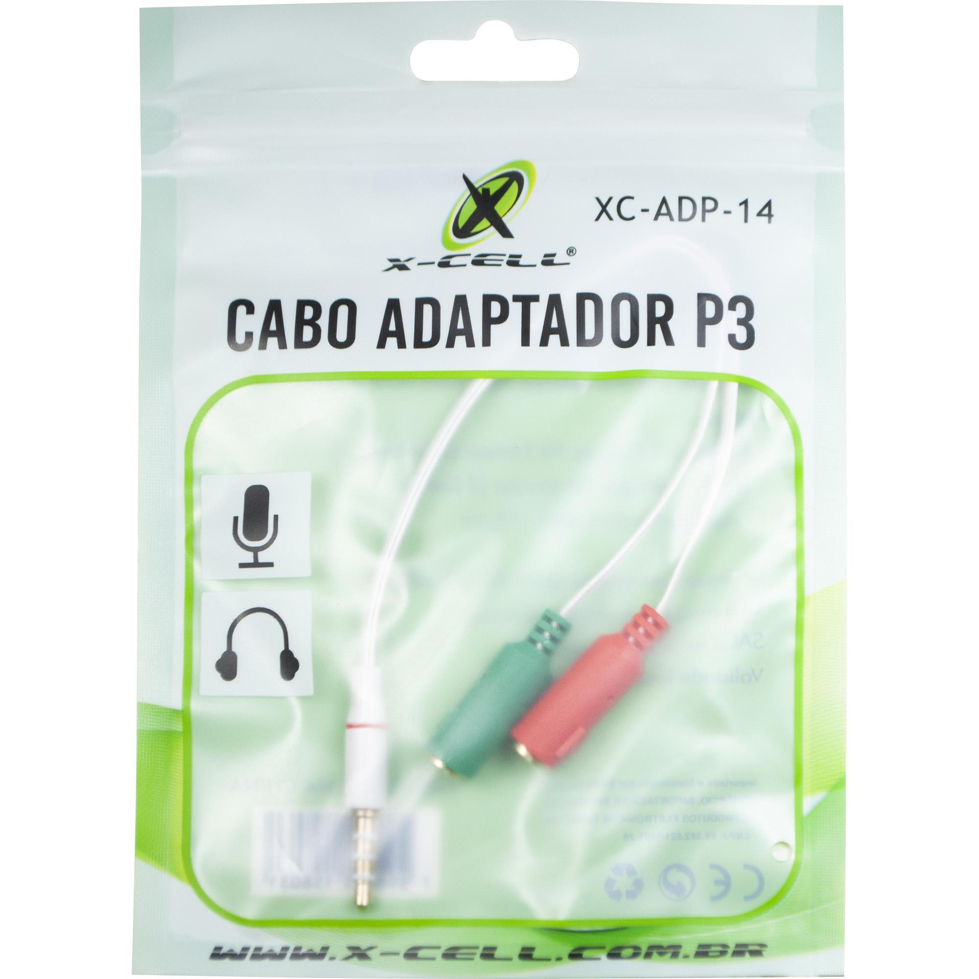 Adaptador P2 x P3 Headset Fone Microfone e Console XC-ADP-14
