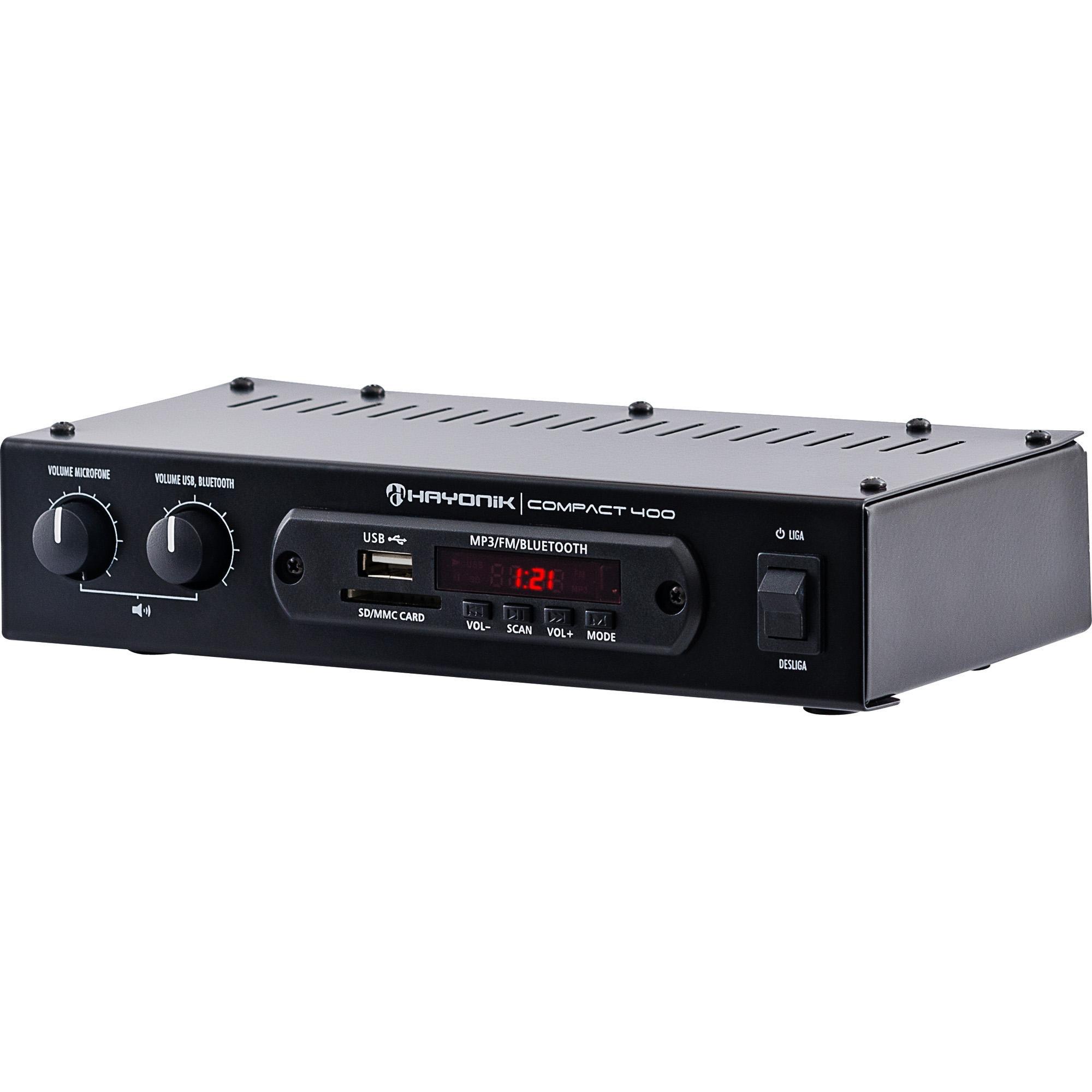 Amplificador 40W RMS com Bluetooth COMPACT 400 HAYONIK
