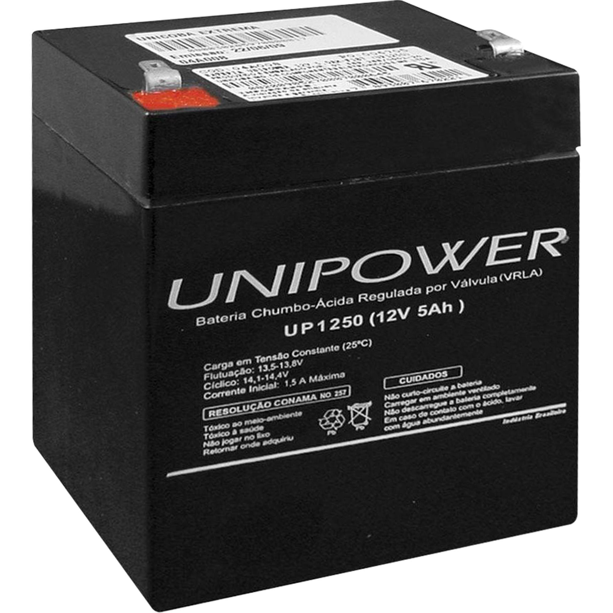 Bateria Selada 12V 5AH UP1250 Preta UNIPOWER