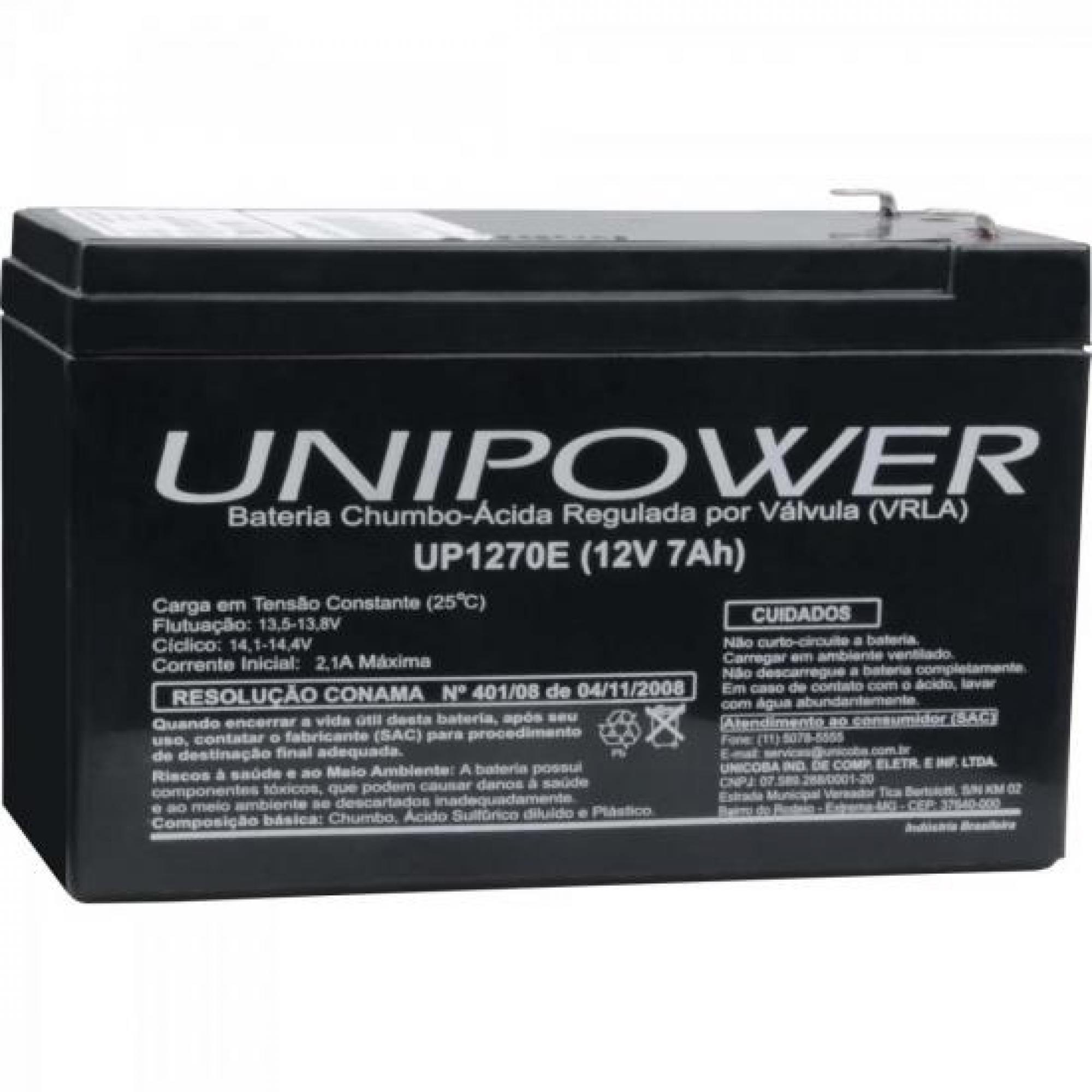 Bateria Selada UP1270 12V/7A UNIPOWER