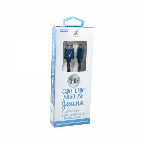 Cabo Micro USB Turbo 3.0A Xcell  Revestido Jeans XC-CD-31