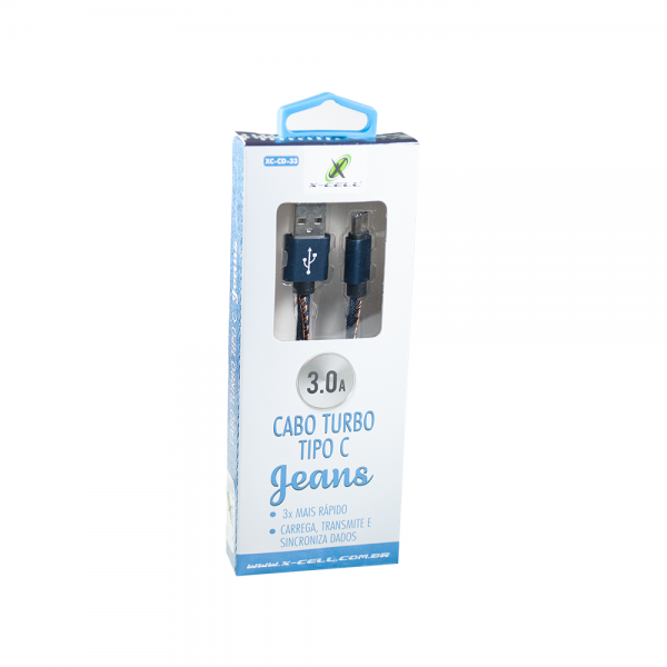 Cabo USB C Turbo 3.0A Xcell  Revestido Jeans XC-CD-33