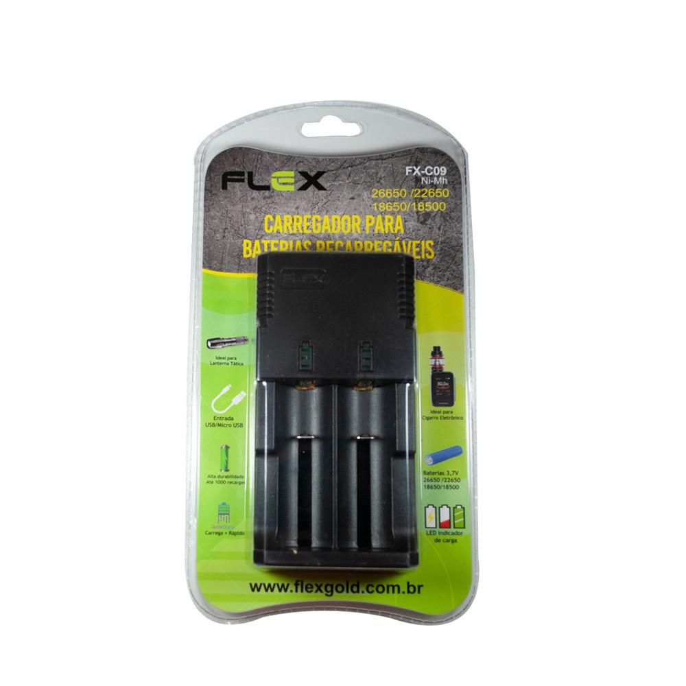 Carregador Baterias 26650/22650/18650/18500 Flex FX-C09
