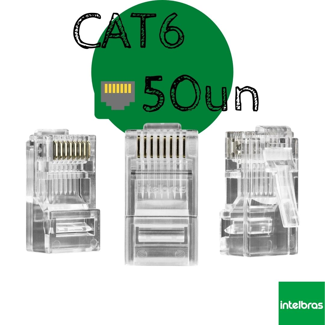 Conector RJ45 CAT6 50un Conex 1000 Intelbras