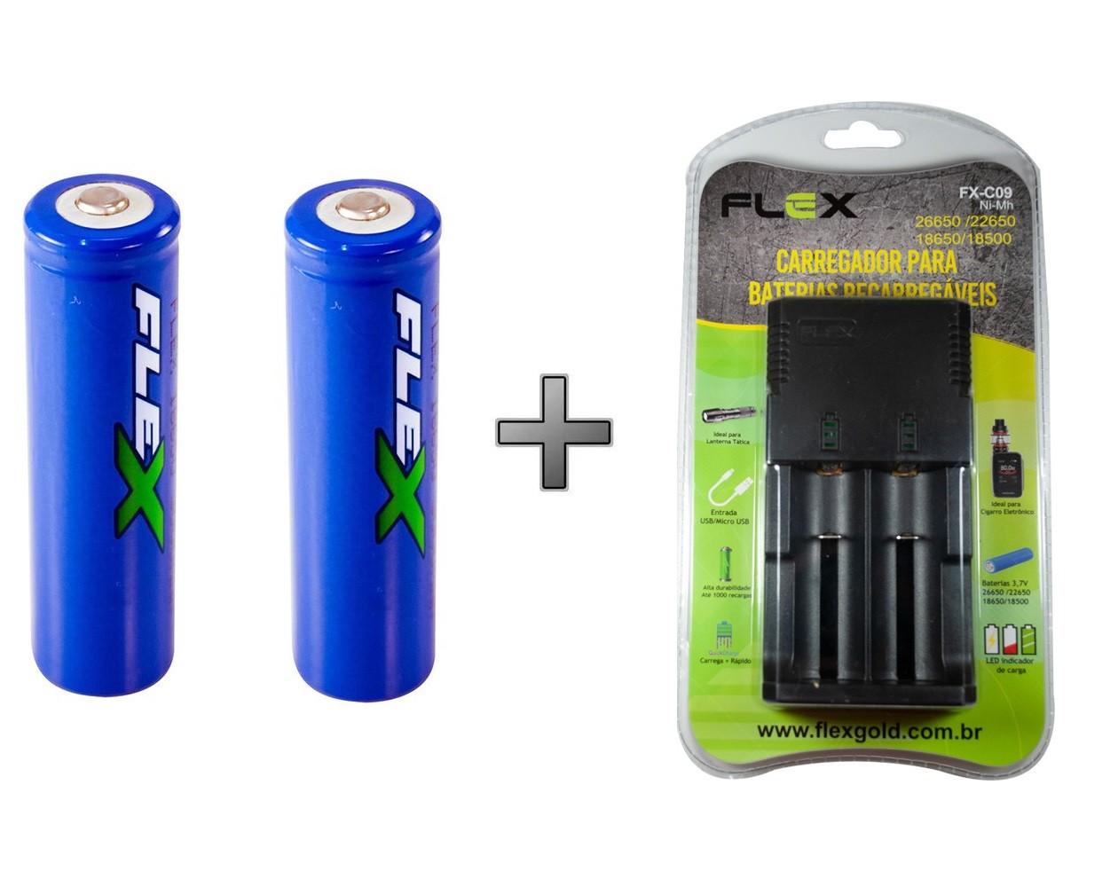 Kit 2 Baterias Recarregáveis 3800mAh 18650 + Carregador Flex