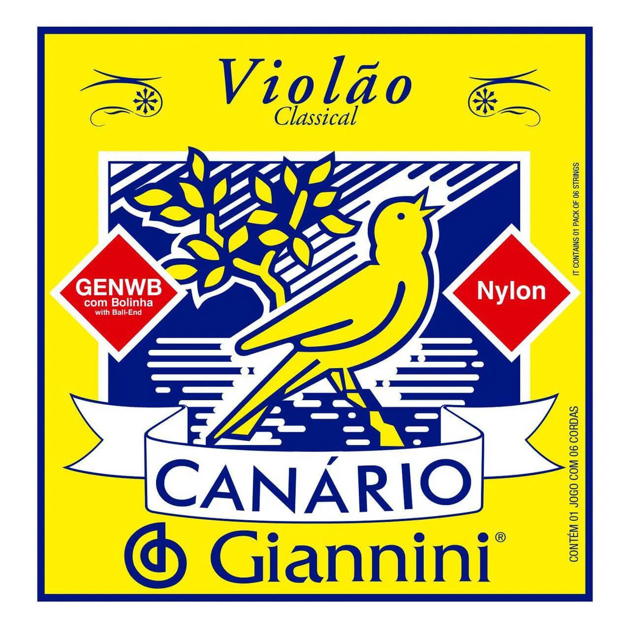 Kit 3 Encordoamentos Violão Nylon Canário Giannini GENWB