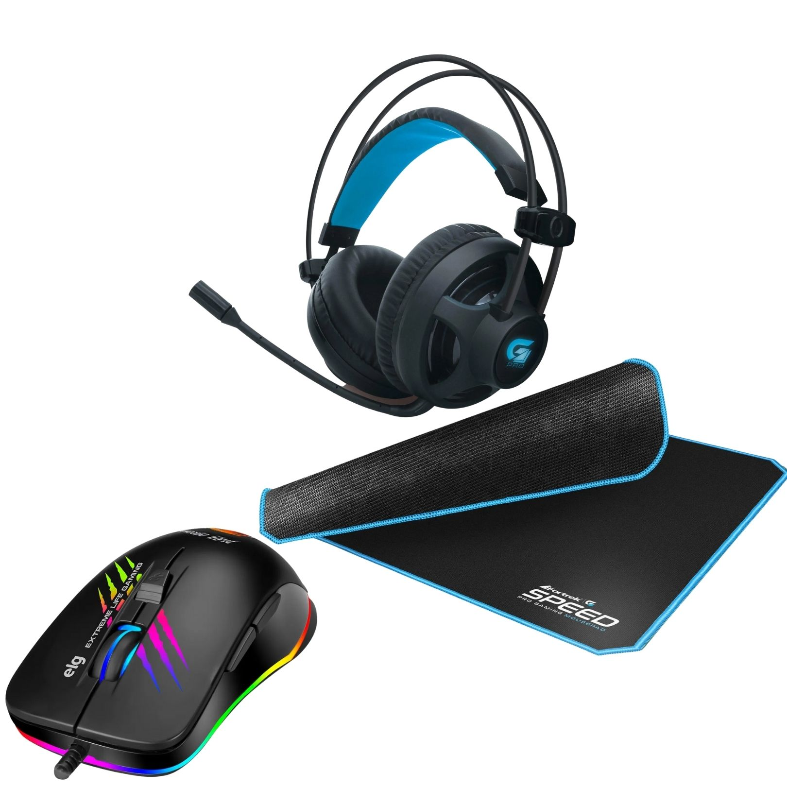 Kit Gamer Mouse Chroma + Mousepad 320x240mm Speed + Headset