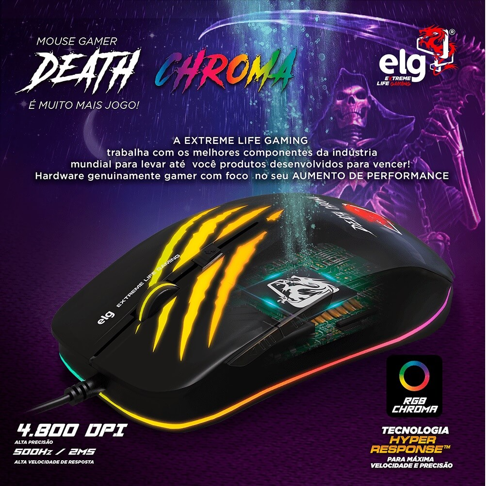 Kit Mouse Death Chroma 4800DPI + Mouse Pad 320x240mm Fortrek