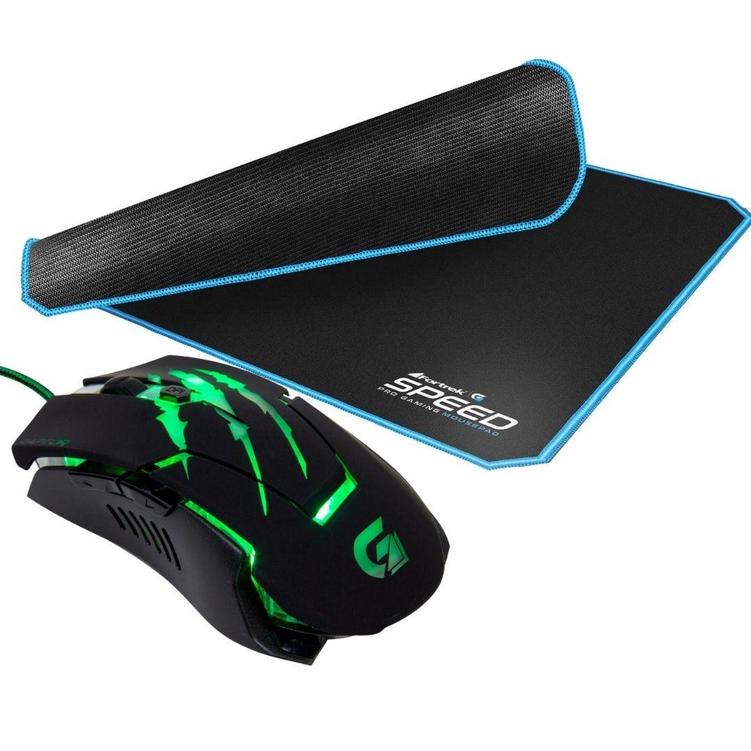 Mouse Gamer Raptor 3200DPI USB Fortrek + Mouse Pad Speed 440x350mm Fortrek