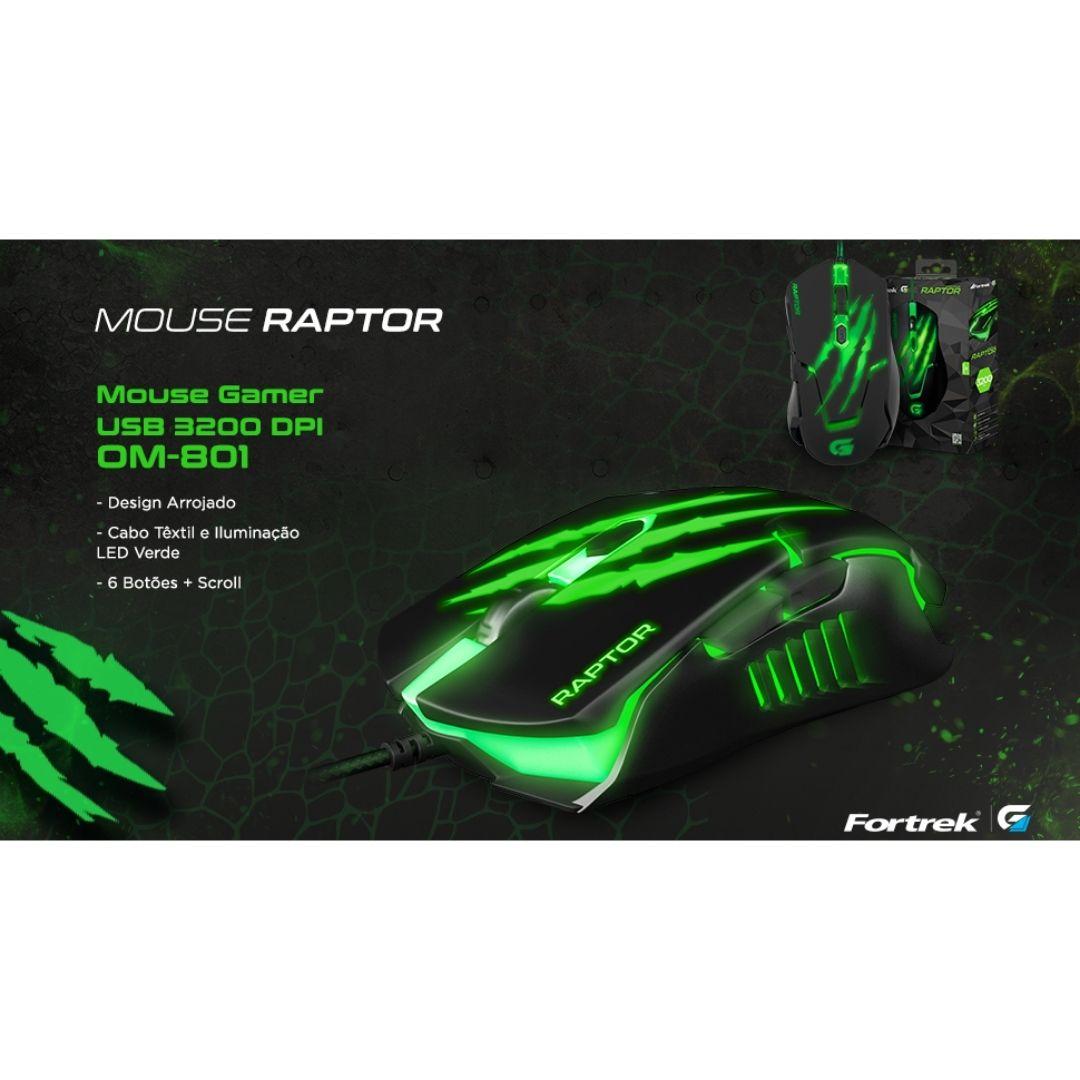 Mouse Gamer Raptor 3200DPI USB Fortrek + Mouse Pad Speed 320x240mm Fortrek