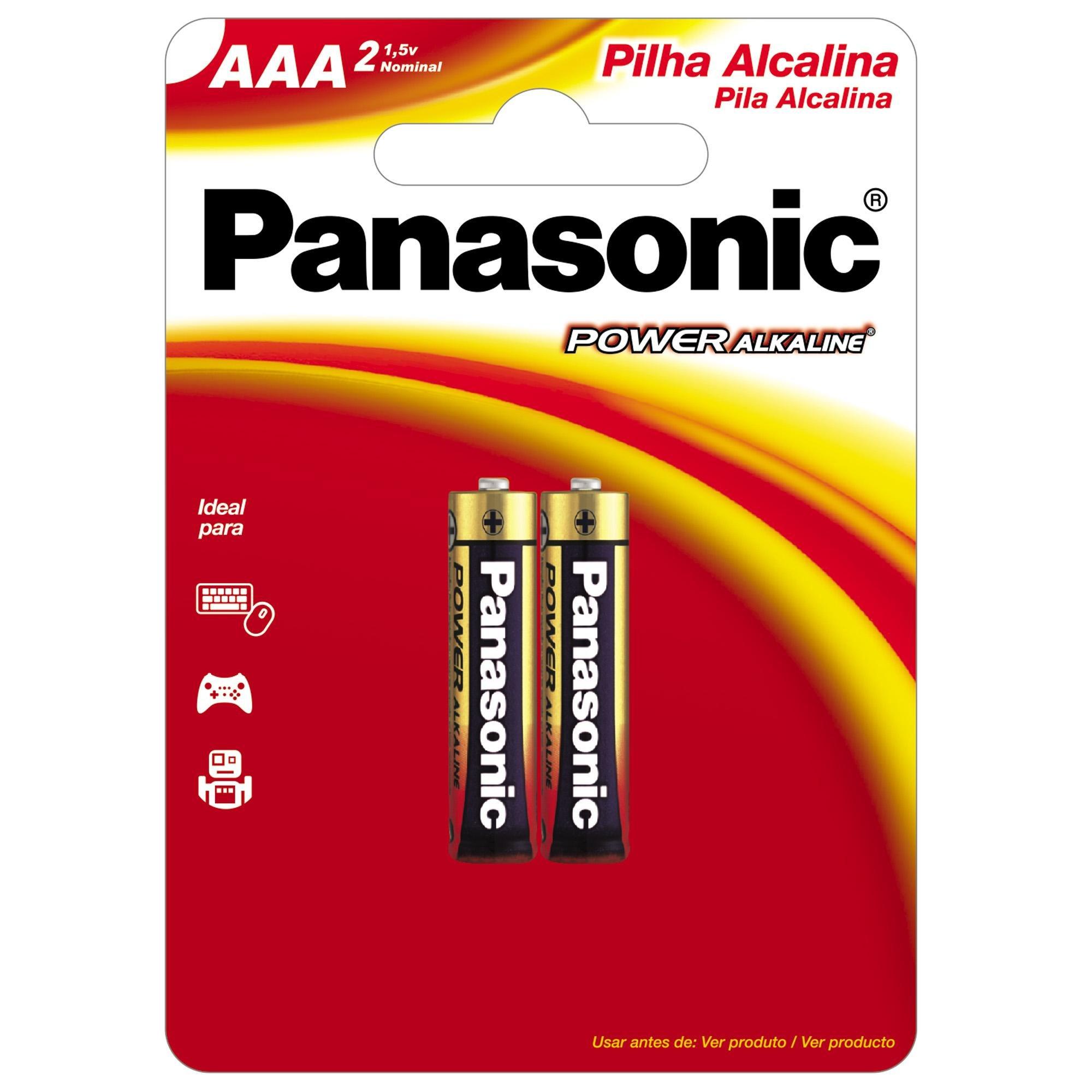 Pilha Alcalina AAA 1,5V LR03XAB/2B1 PANASONIC (Cartela com 2