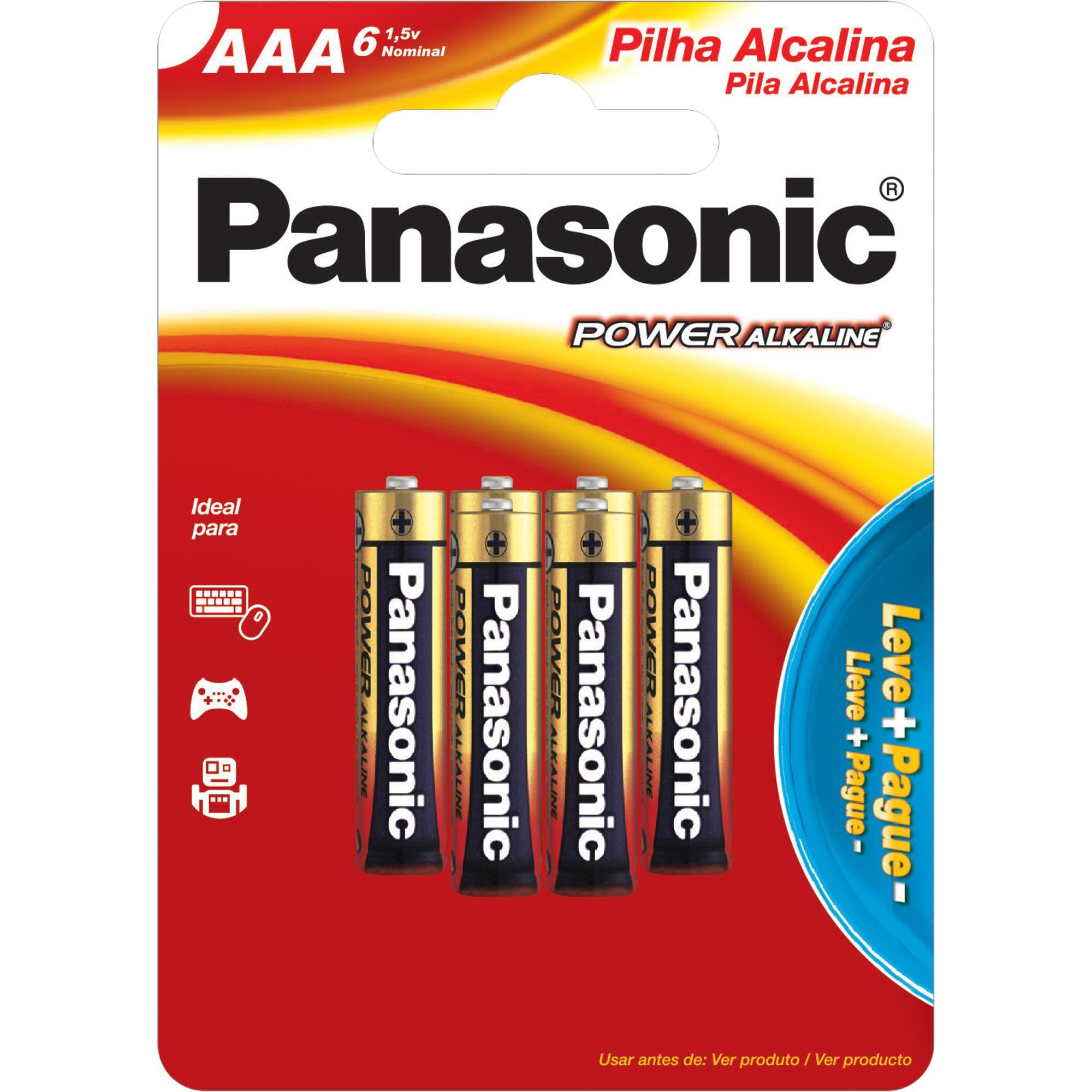 Pilha Alcalina AAA 1,5V LR03XAB PANASONIC (Cartela com 6 Uni