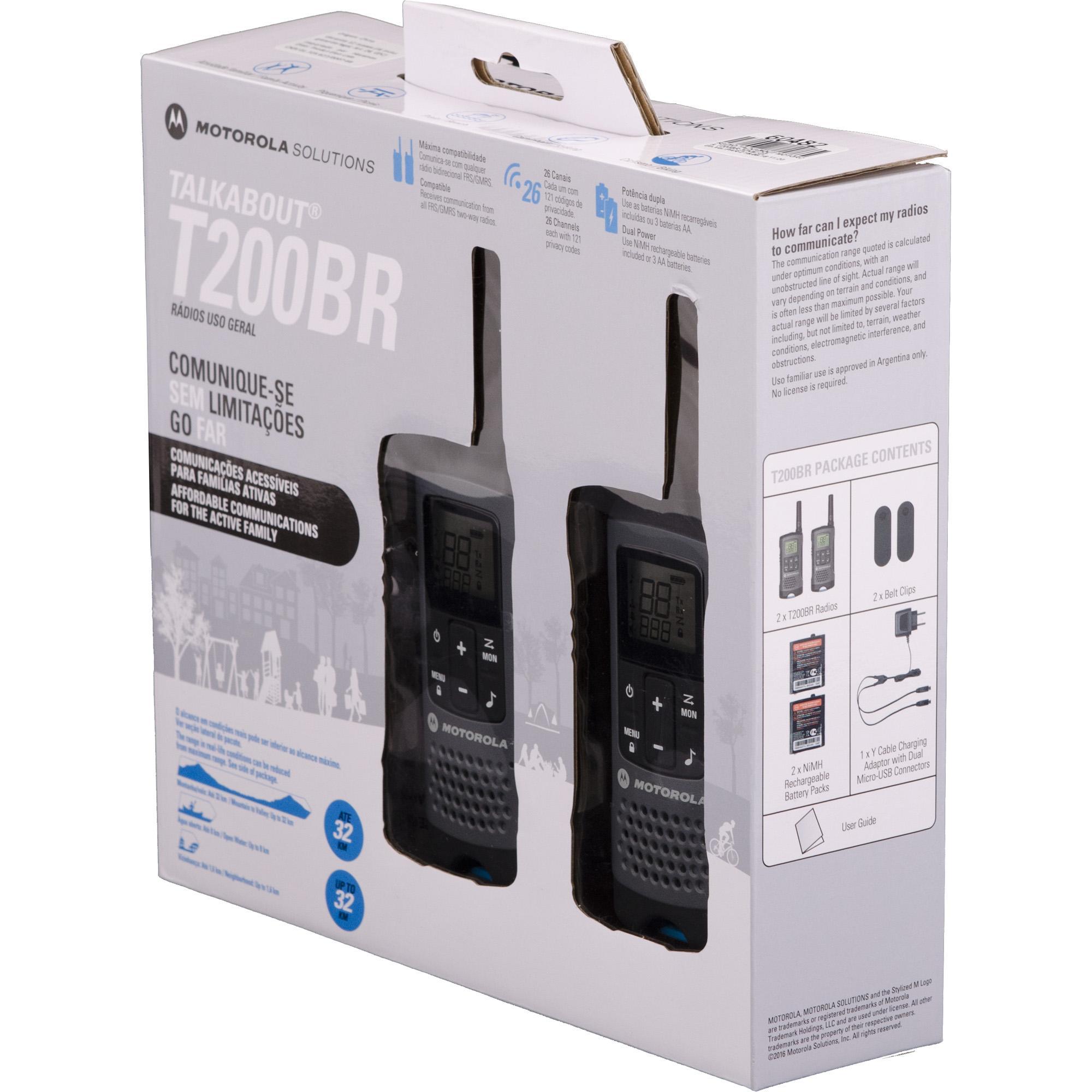 Rádio Comunicador Talkabout 32km T200BR Cinza MOTOROLA - PAR