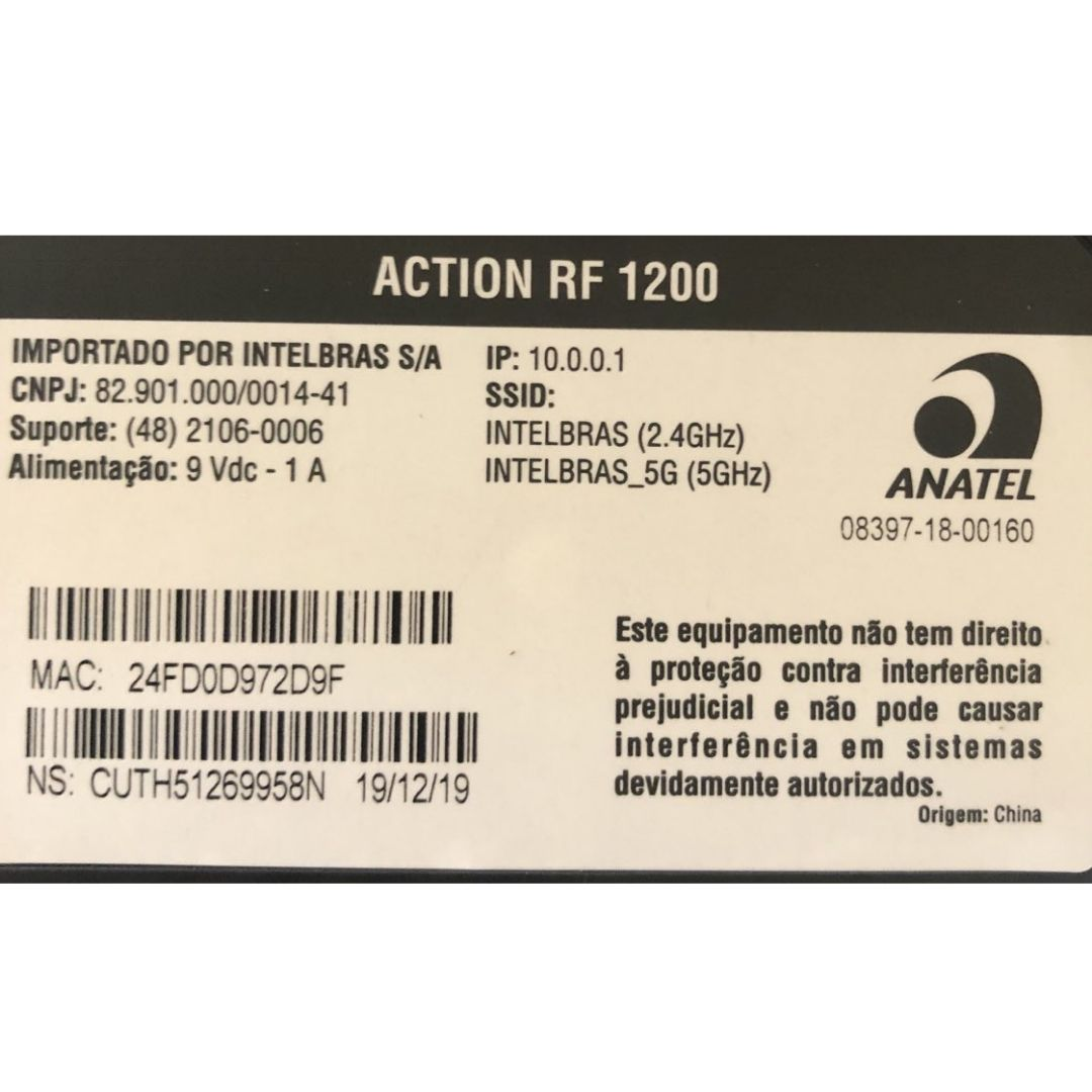 Roteador Action RF 1200 Intelbras Dual Band Fast Ethernet