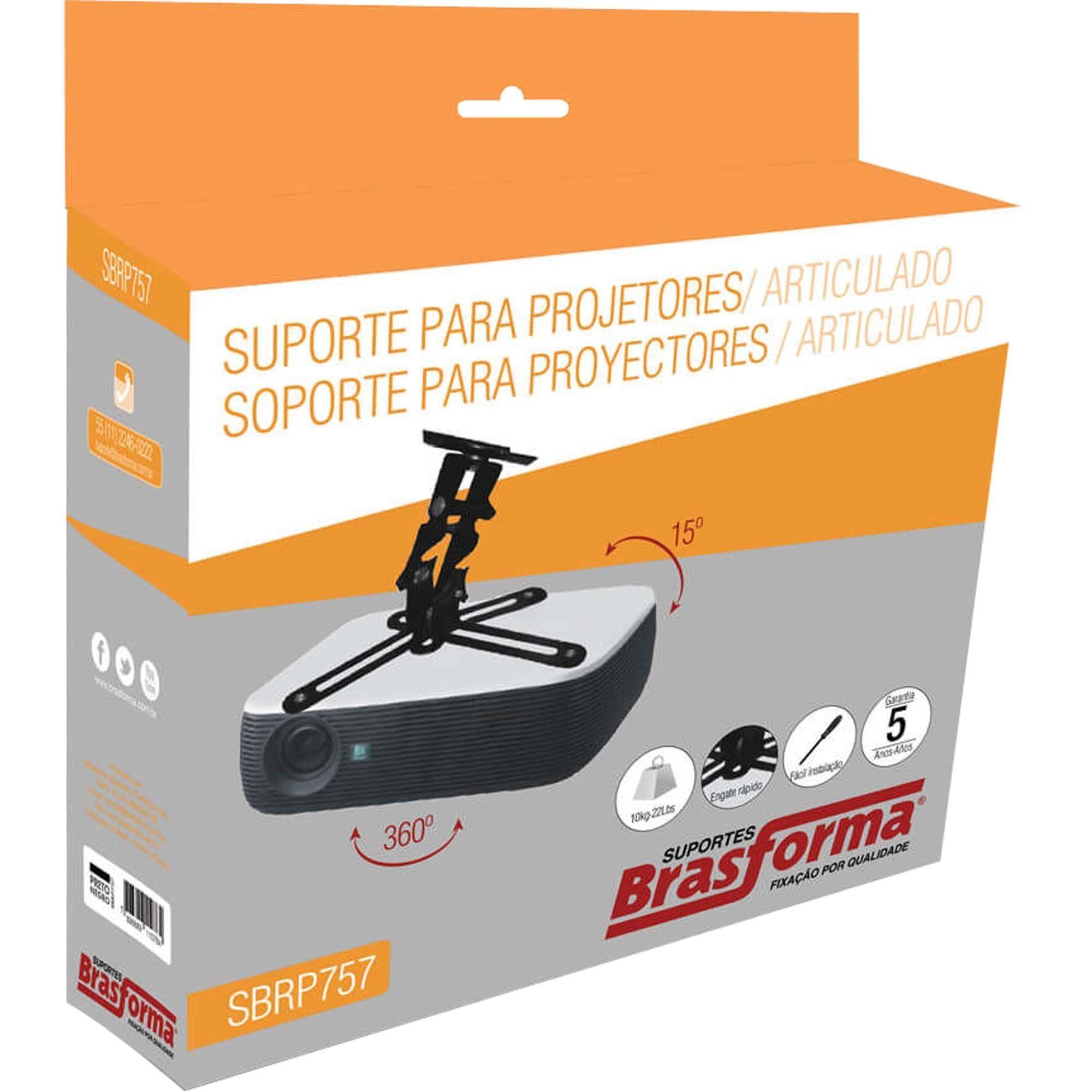 Suporte de Teto Para Projetor SBRP757 Preto BRASFORMA