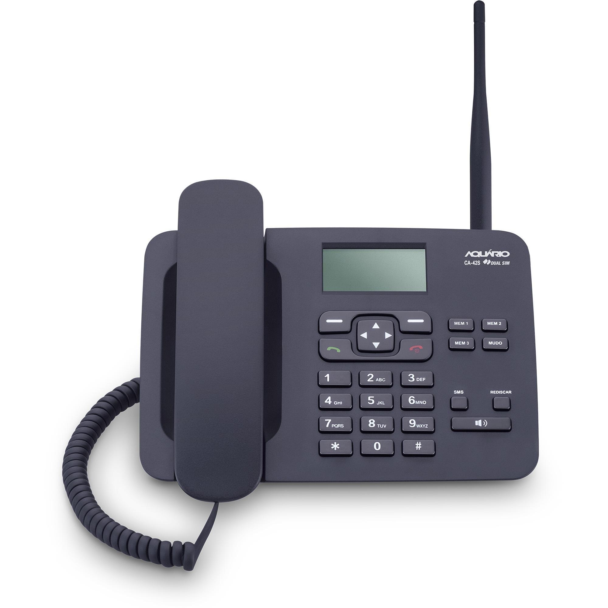 Telefone Celular Fixo CA42-S Preto AQUARIO