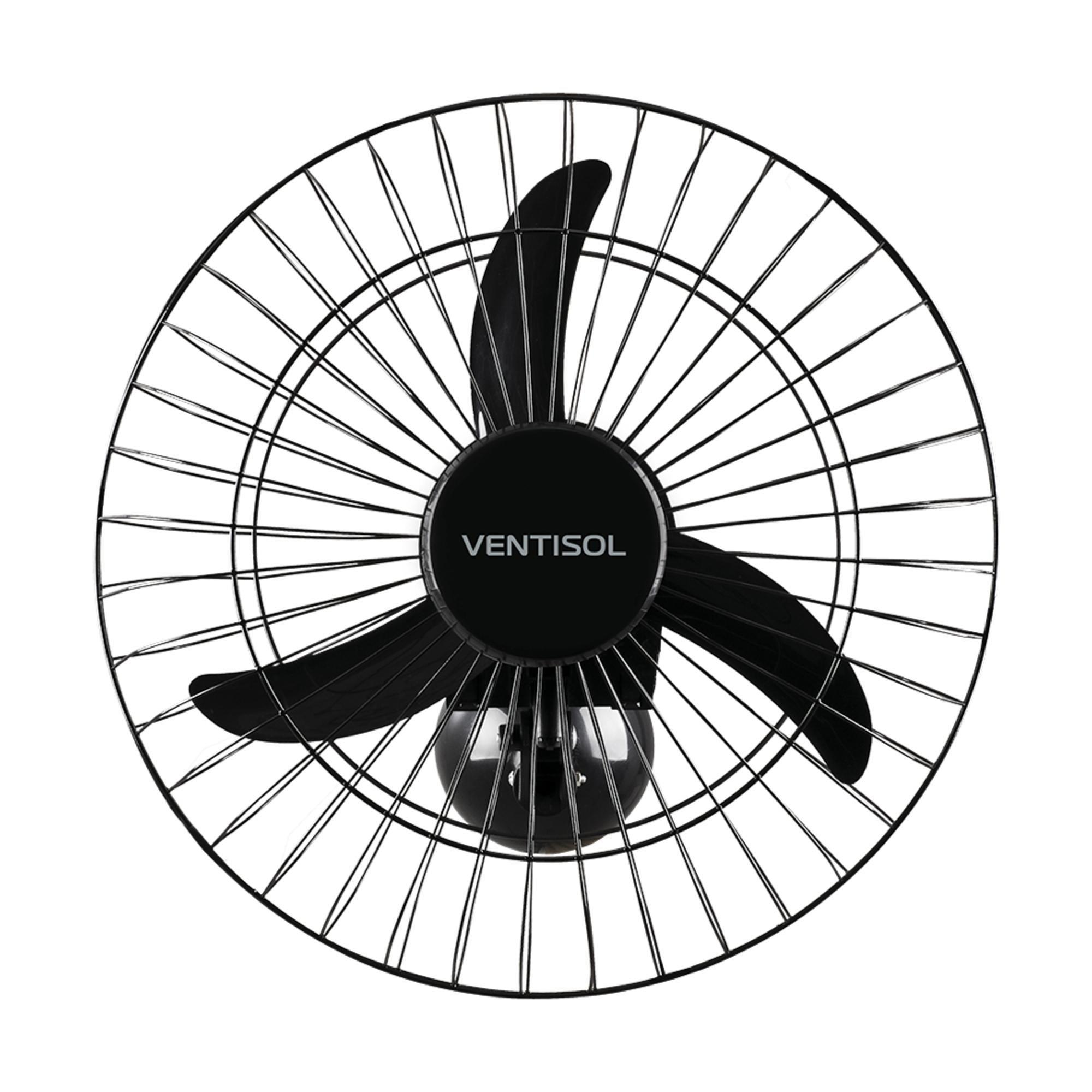 Ventilador de Parede Oscilante 50cm Bivolt AÇO Preto VENTISO