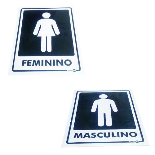 Kit Placa PVC Feminino e Masculino 200 X 150 X 0,8cm