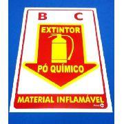 Placa Extintor Pó Químico 200mm X 300mm Fotoluminescente