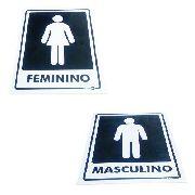 Kit Placa PVC Feminino e Masculino 20 X 15 X 0,01cm
