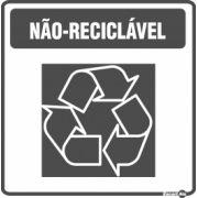 Adesivo para Sinalização Lixo Não Reciclável 18 x 18