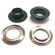 Ilhós com Arruela Ferro Verde Escuro Nº 0 18mm de diâmetro externo