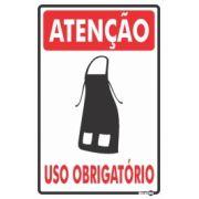 Placa PVC Atenção (Avental) Uso Obrigatório 200 x 300 x 0,80mm