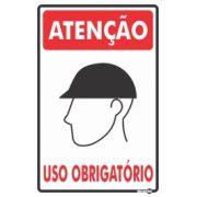 Placa PVC Atenção (capacete) Uso Obrigatório 200 x 300 x 0,80mm