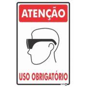 Placa PVC Atenção (Óculos) Uso Obrigatório 200 x 300 x 0,80mm