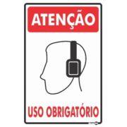 Placa PVC Atenção (proteção de Ouvido) Uso Obrigatório 200 x 300 x 0,80mm