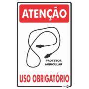 Placa PVC Atenção (Protetor Auricular Plug) Uso Obrigatório 200 x 300 x 0,80mm