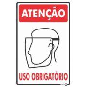Placa PVC Atenção (Protetor Facial) Uso Obrigatório 200 x 300 x 0,80mm