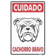 Placa PVC Cuidado Cachorro Bravo 200 x 300 x 0,80mm