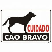 Placa PVC Cuidado Cão Bravo 300 x 200 x 0,80mm