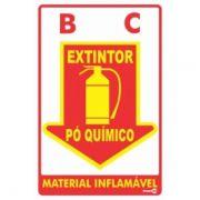 Placa PVC Extintor Pó Químico 200 x 300 x 0,80mm