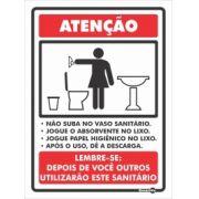 Placa PVC Não suba no Vaso sanitário 200 x 150 x 0,8mm