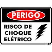 Placa PVC Perigo Risco de choque Elétrico 200 x 150 x 0,80mm