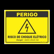 Placa PVC Perigo Risco de Choque Elétrico 20 x 15 x 0,80mm