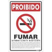 Placa PVC Proibido Fumar (Decreto Lei Fed. de 2014) 200 x 300 x 0,80mm