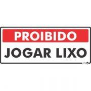 Placa PVC Proibido Jogar Lixo 300 x 130 x 0,80mm