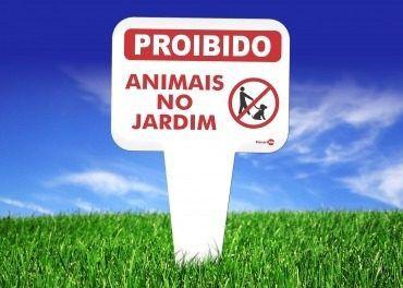 Placa Proibido Animais No Jardim 165mm X 290mm X 1,5mm